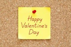 Note collante heureuse de jour de valentines Images stock