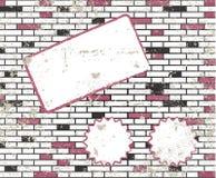 Note collante sur la trame modifiée de mur de briques de t illustration de vecteur