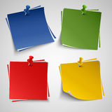 Note color paper with push colored pin template Stock Images