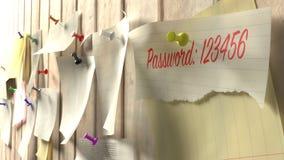 Note com senha 123456 em uma parede de madeira da cozinha Fotografia de Stock Royalty Free