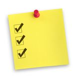 Note with completed checklist Royalty Free Stock Image