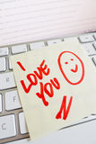 Note on computer keyboard: i love you Royalty Free Stock Image