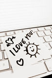 Note on computer keyboard: i love you Royalty Free Stock Photography