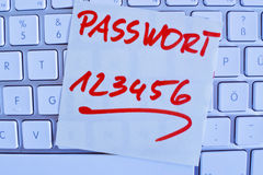 Note on computer keyboard: password 123456 Royalty Free Stock Image