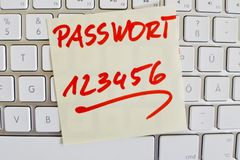 Note on computer keyboard: password 123456 Royalty Free Stock Images