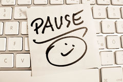 Note on computer keyboard: pause Stock Photos