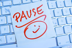 Note on computer keyboard: pause Stock Photography