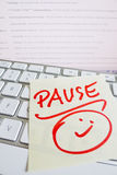 Note on computer keyboard: pause Stock Photo