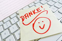Note on computer keyboard: thank you Stock Image