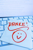 Note on computer keyboard: thank you Royalty Free Stock Photo
