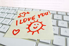 Note on computer keyboardi love you Royalty Free Stock Images