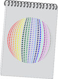 Note con 3d la sfera 08 illustrazione di stock