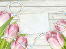 Note with copy space and tulip. EPS 10 Royalty Free Stock Image