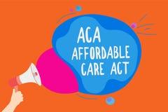 Note d'écriture montrant à ACA l'acte abordable de soin Photo d'affaires présentant fournissant le traitement bon marché au patie illustration stock
