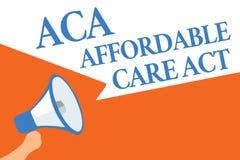 Note d'écriture montrant à ACA l'acte abordable de soin Photo d'affaires présentant fournissant le traitement bon marché au patie illustration libre de droits
