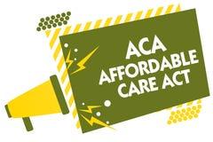 Note d'écriture montrant à ACA l'acte abordable de soin Photo d'affaires présentant fournissant le traitement bon marché au patie illustration de vecteur