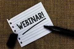 Note d'écriture montrant à Webinar l'appel de motivation Papier de présentation mars d'idées d'elearning de Web d'enseignement à  Image stock