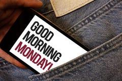 Note d'écriture montrant bonjour lundi l'appel de motivation Photo d'affaires présentant l'humain énergique de petit déjeuner de  illustration de vecteur