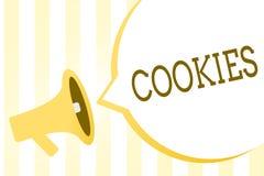 Note d'écriture montrant des biscuits Photo d'affaires présentant le petit gâteau augmenté de biscuit de dessert de casse-croûte  illustration libre de droits