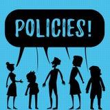 Note d'écriture montrant des politiques Normes de présentation de règlements de règles de société commerciale ou de gouvernement  illustration de vecteur