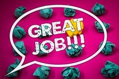 Note d'écriture montrant grand Job Motivational Call Photos d'affaires présentant l'excellent compliment bien fait de résultats d Photographie stock libre de droits