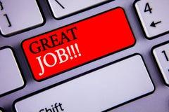 Note d'écriture montrant grand Job Motivational Call Photos d'affaires présentant l'excellent compliment bien fait de résultats d Photographie stock