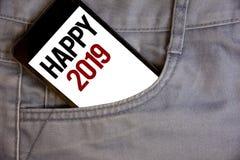 Note d'écriture montrant 2019 heureux Les photos d'affaires présentant la célébration de nouvelle année encourage Congrats Messag Photographie stock libre de droits