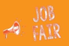 Note d'écriture montrant Job Fair Photo d'affaires présentant un événement où une personne peut faire acte de candidature pour un illustration stock