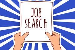 Note d'écriture montrant Job Search Photo d'affaires présentant un acte de personne pour trouver le travail adapté à son homme de illustration libre de droits