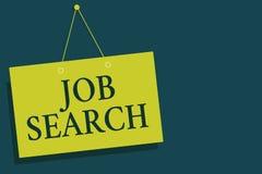 Note d'écriture montrant Job Search Photo d'affaires présentant un acte de personne pour trouver le travail adapté à son wa de co illustration de vecteur