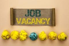 Note d'écriture montrant Job Vacancy Le travail de location de présentation de recrue d'emploi de position vide de carrière de tr photos libres de droits