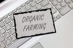 Note d'écriture montrant l'agriculture biologique Photo d'affaires présentant un système d'exploitation agricole intégré qui essa photographie stock