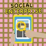 Note d'écriture montrant l'entreprise sociale Affaires de présentation de photo d'affaires qui gagnent l'argent dans socialement  illustration libre de droits