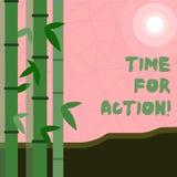 Note d'écriture montrant l'heure pour l'action Travail de présentation de défi d'encouragement de mouvement d'urgence de photo d' illustration libre de droits