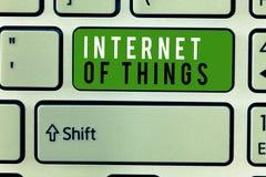 Note d'écriture montrant l'Internet des choses Connexion de présentation de photo d'affaires des dispositifs au filet aux données photographie stock