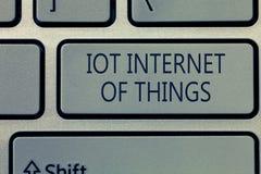 Note d'écriture montrant l'Internet d'Iot des choses Le réseau de présentation de photo d'affaires des dispositifs physiques envo images stock