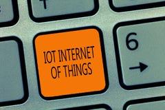Note d'écriture montrant l'Internet d'Iot des choses Le réseau de présentation de photo d'affaires des dispositifs physiques envo images libres de droits