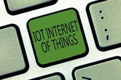 Note d'écriture montrant l'Internet d'Iot des choses Le réseau de présentation de photo d'affaires des dispositifs physiques envo image stock