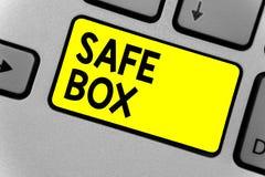Note d'écriture montrant la boîte sûre Photo d'affaires présentant la petite structure d'A où vous pouvez garder des choses impor photos stock