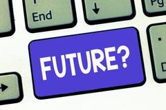Note d'écriture montrant la future question Planification de présentation de photo d'affaires pour des objectifs de buts de visio illustration libre de droits