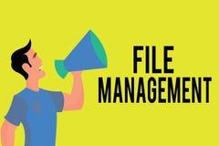 Note d'écriture montrant la gestion de fichiers Programme informatique de présentation de photo d'affaires qui fournit l'interfac illustration stock