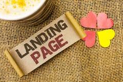 Note d'écriture montrant la page d'atterrissage Le site Web de présentation de photo d'affaires a accédé en cliquant sur un lien  Photographie stock libre de droits