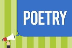 Note d'écriture montrant la poésie Photo d'affaires présentant l'expression d'ouvrage littéraire des idées de sentiments avec des photo stock