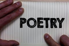 Note d'écriture montrant la poésie Photo d'affaires présentant l'expression d'ouvrage littéraire des idées de sentiments avec des images stock