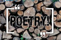 Note d'écriture montrant la poésie Photo d'affaires présentant l'expression d'ouvrage littéraire des idées de sentiments avec des image libre de droits
