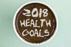 Note d'écriture montrant la santé 2018 Golas Photo d'affaires présentant des buts sains de résolution de nourriture de séance d'e Images libres de droits