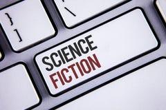 Note d'écriture montrant la science-fiction Aventures fantastiques futuristes de présentation Keybo de genre de divertissement d' photos stock