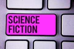 Note d'écriture montrant la science-fiction Aventures fantastiques futuristes de présentation Keybo de genre de divertissement d' photographie stock