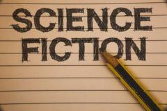 Note d'écriture montrant la science-fiction Idées fantastiques futuristes de présentation d'aventures de genre de divertissement  photos libres de droits