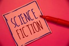 Note d'écriture montrant la science-fiction Idées fantastiques futuristes de présentation d'aventures de genre de divertissement  photo libre de droits